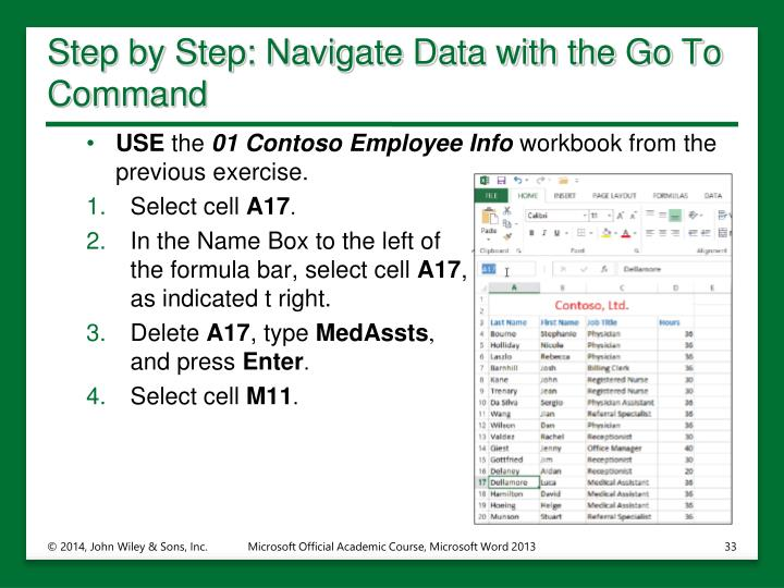 Step by Step: Navigate Data with the Go To Command