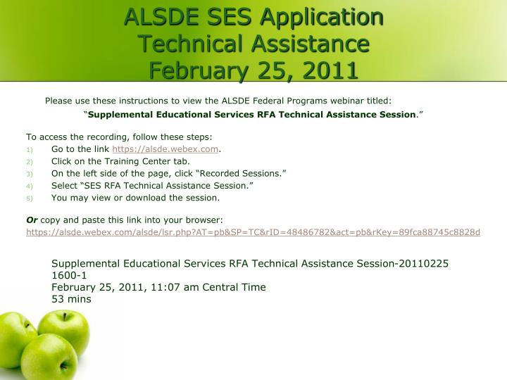 Alsde ses application technical assistance february 25 2011