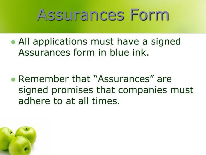 Assurances Form