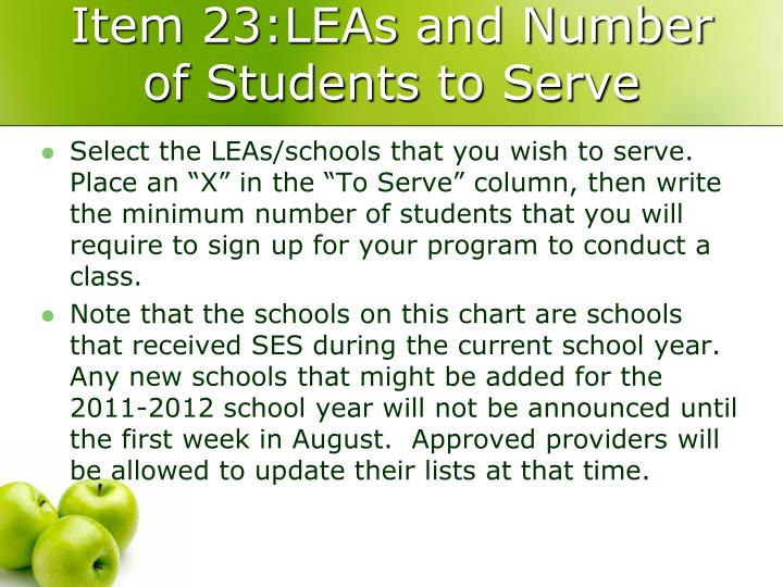 Item 23:LEAs and Number of Students to Serve