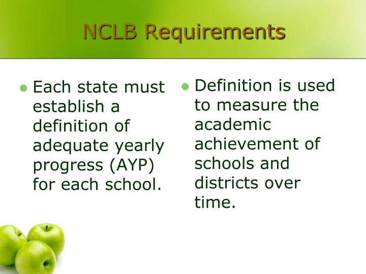 Each state must establish a definition of adequate yearly progress (AYP) for each school.