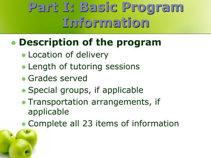 Part I: Basic Program Information