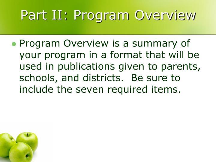 Part II: Program Overview