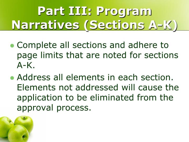 Part III: Program Narratives (Sections A-K)