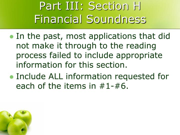 Part III: Section H