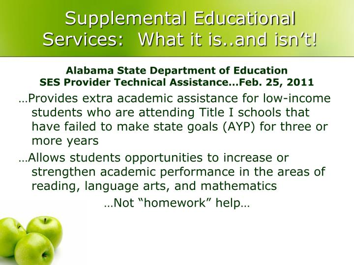 Supplemental educational services what it is and isn t