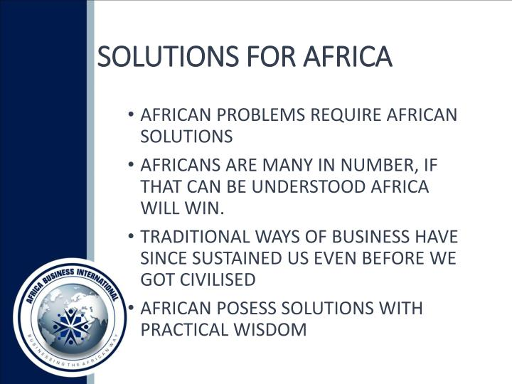 SOLUTIONS FOR AFRICA