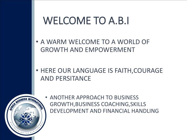 WELCOME TO A.B.I