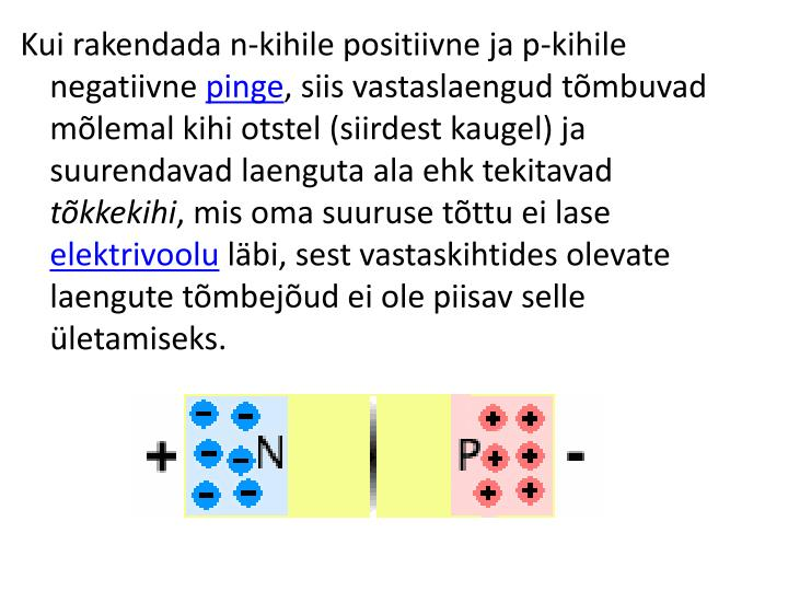 Kui rakendada n-kihile positiivne ja p-kihile negatiivne