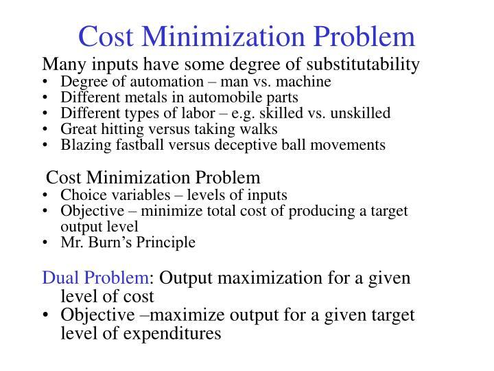 Cost Minimization Problem