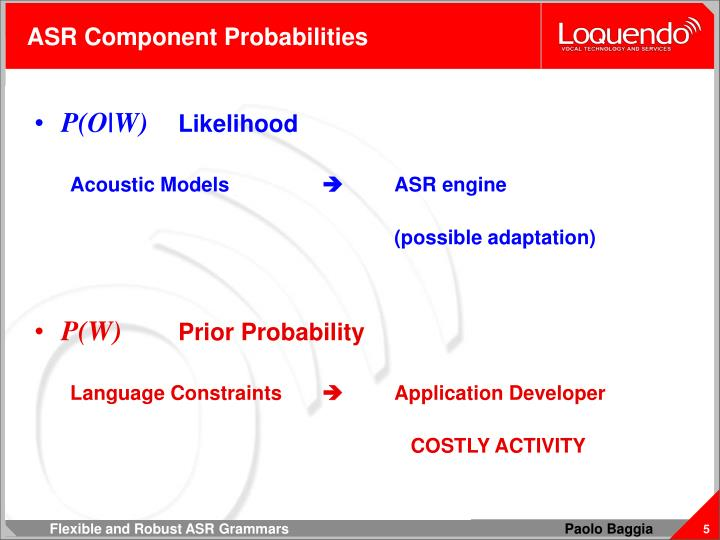 ASR Component Probabilities
