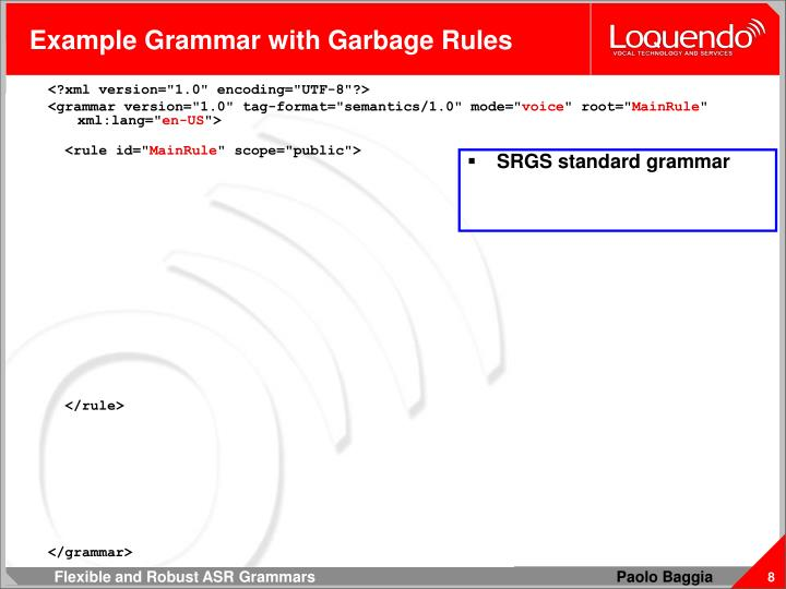Example Grammar with Garbage Rules