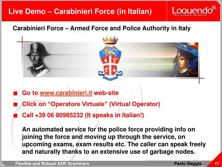 Live Demo – Carabinieri Force (in Italian)