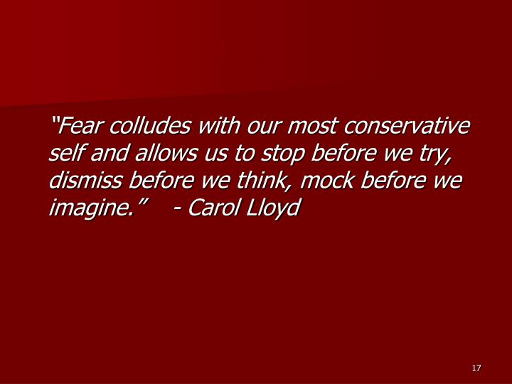 """Fear colludes with our most conservative self and allows us to stop before we try, dismiss before we think, mock before we imagine.""    - Carol Lloyd"