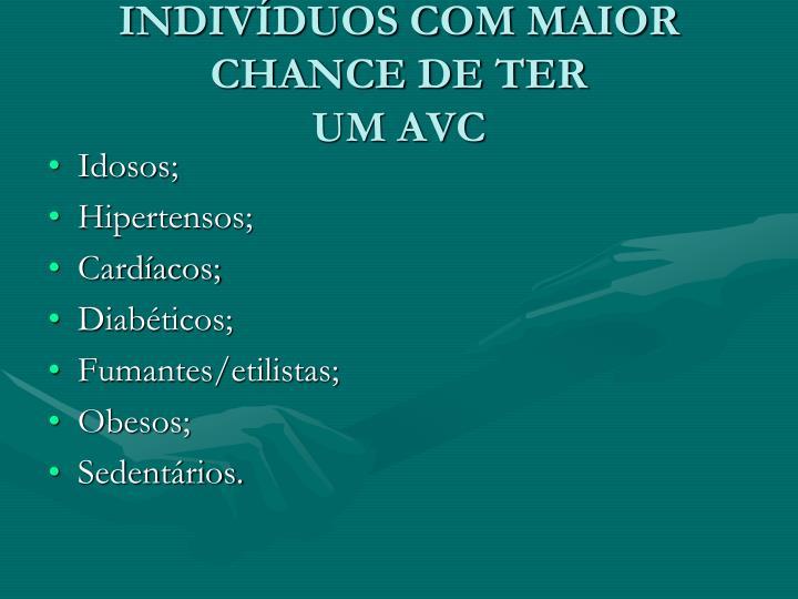 INDIVÍDUOS COM MAIOR CHANCE DE TER