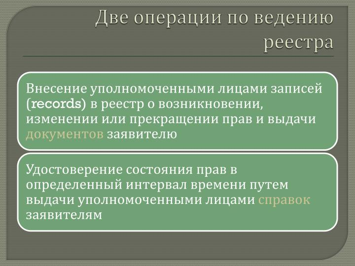 Две операции по ведению реестра