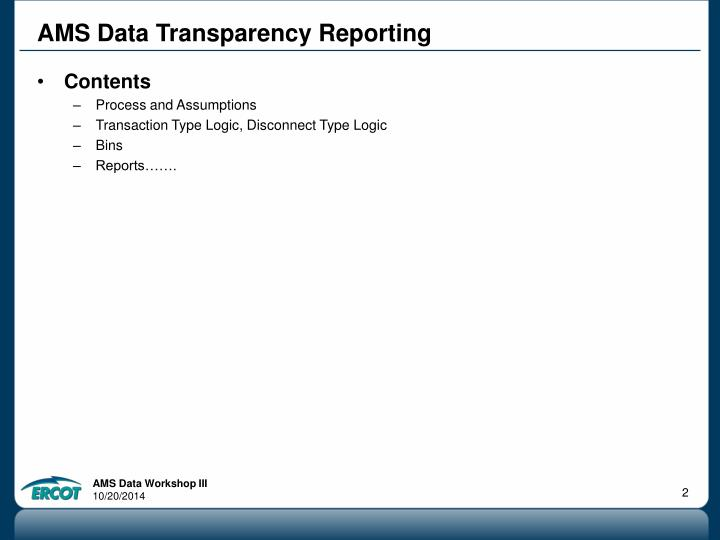 Ams data transparency reporting