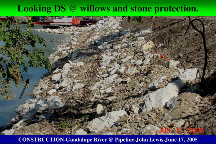 Looking DS @ willows and stone protection.