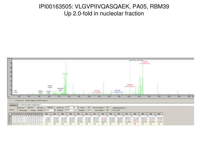 IPI00163505: VLGVPIIVQASQAEK, PA05, RBM39