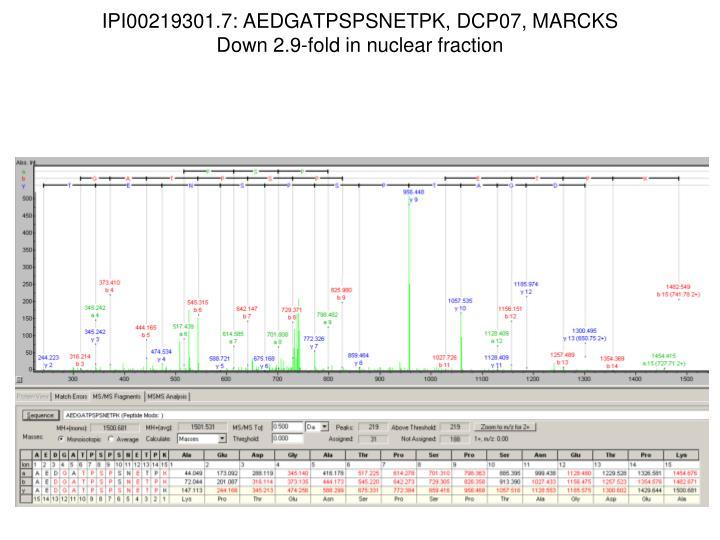 IPI00219301.7: AEDGATPSPSNETPK, DCP07, MARCKS