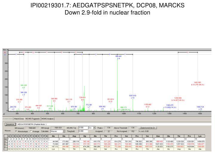 IPI00219301.7: AEDGATPSPSNETPK, DCP08, MARCKS