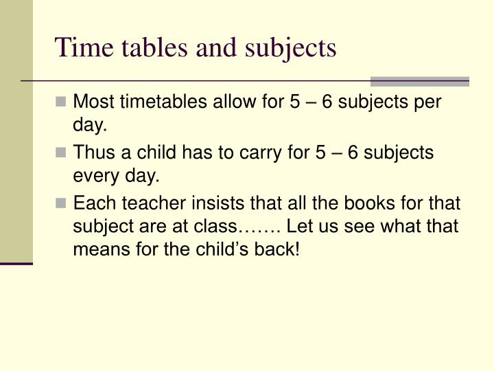 Time tables and subjects