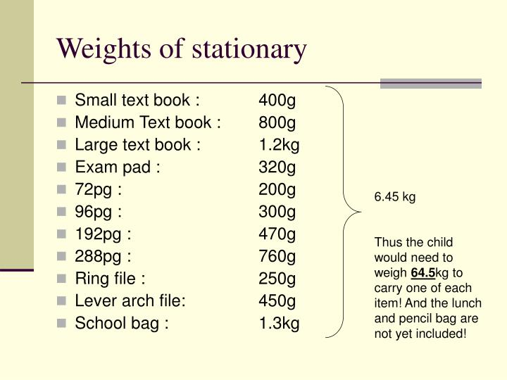Weights of stationary