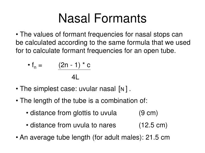 Nasal Formants