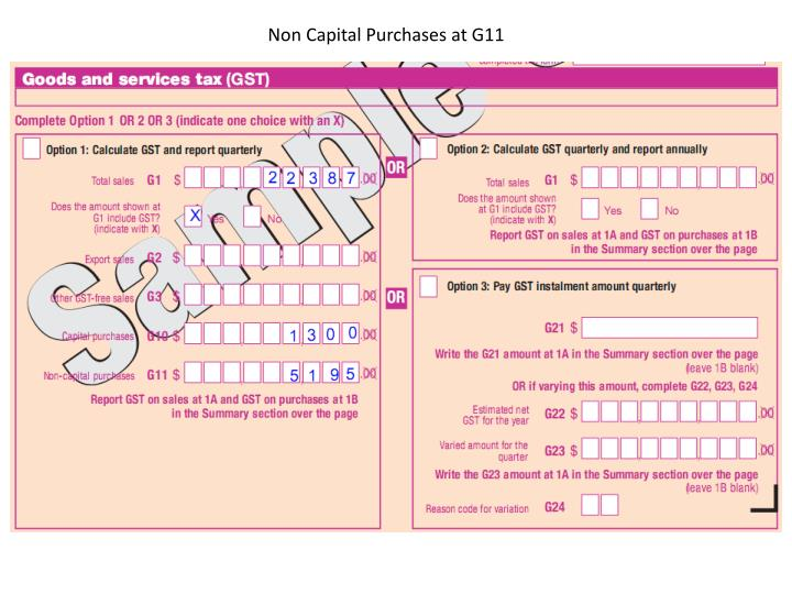 Non Capital Purchases at G11