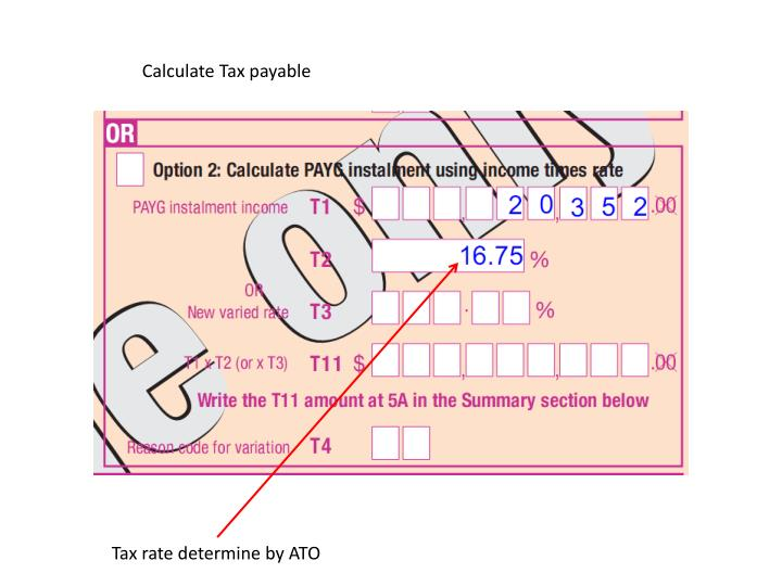 Calculate Tax payable