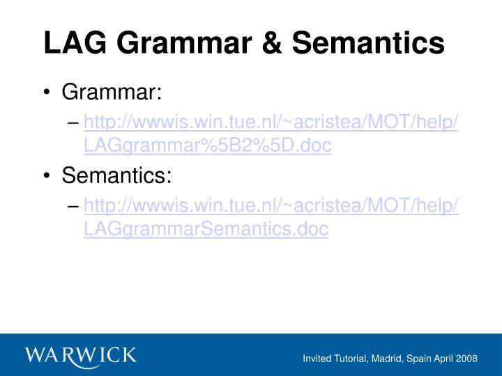LAG Grammar & Semantics