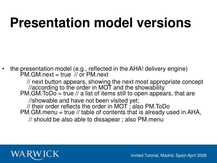 Presentation model versions