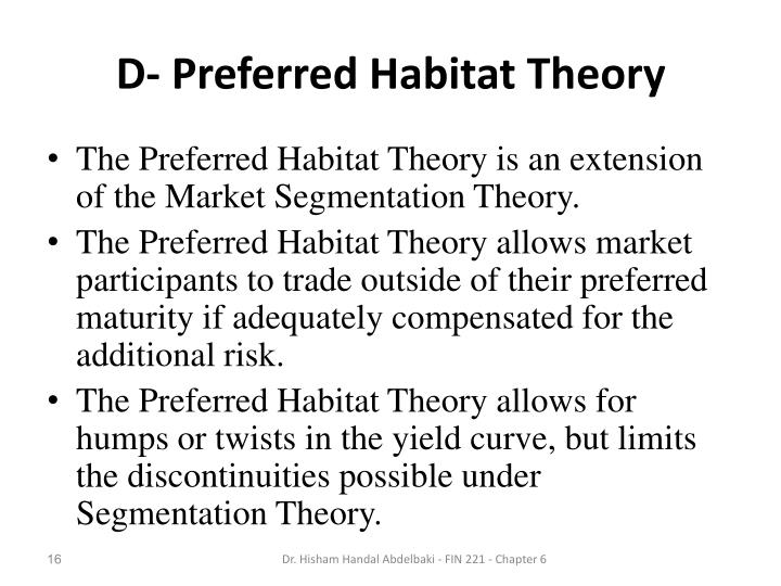 D- Preferred Habitat Theory