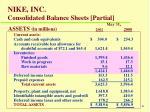 nike inc consolidated balance sheets partial