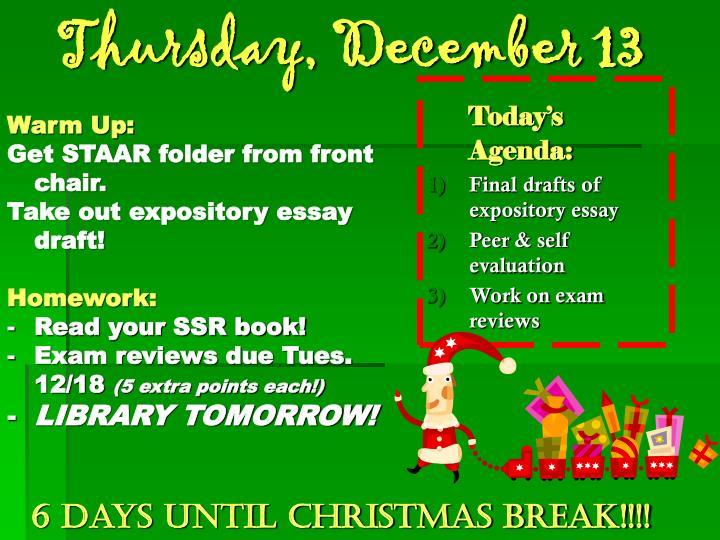 Thursday, December 13