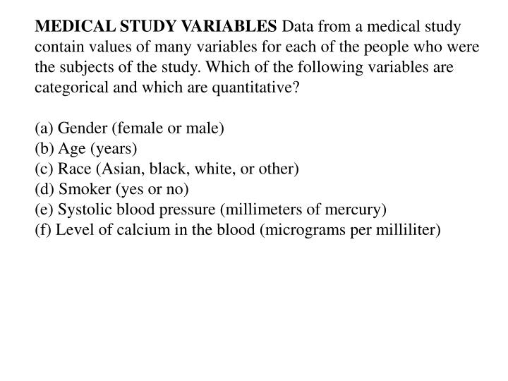 MEDICAL STUDY VARIABLES