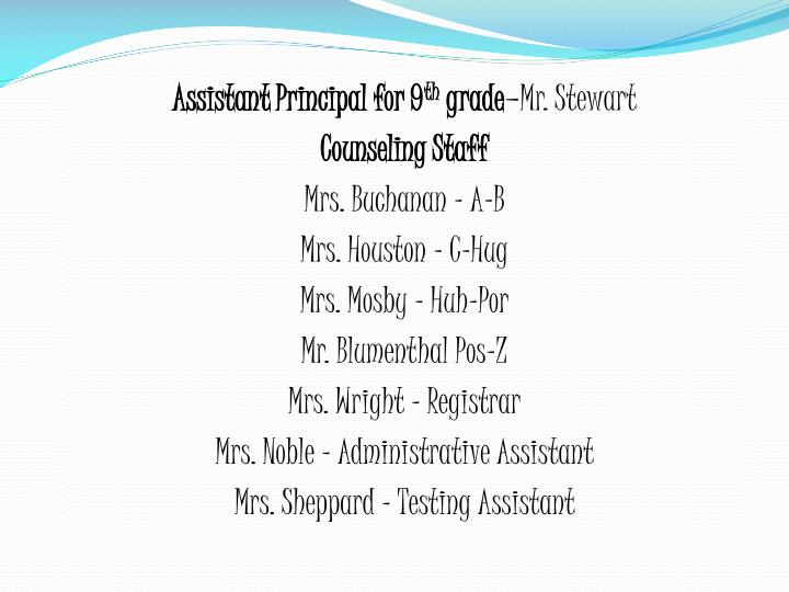 Assistant Principal for 9