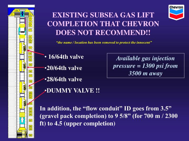 EXISTING SUBSEA GAS LIFT COMPLETION THAT CHEVRON DOES NOT RECOMMEND!!