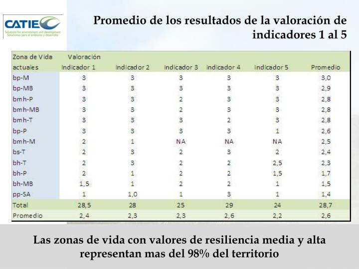 Promedio de los resultados de la valoración de indicadores 1 al 5