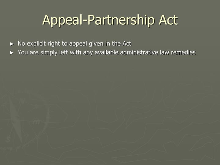 Appeal-Partnership Act