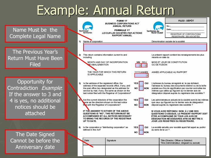 Example: Annual Return