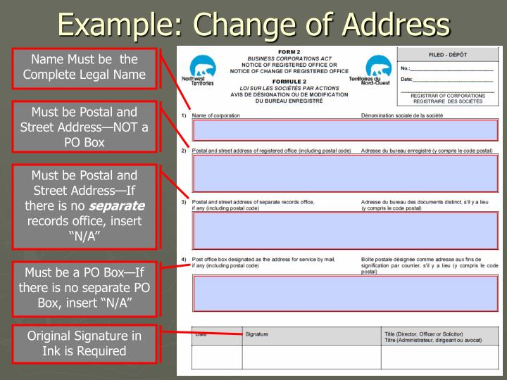 Example: Change of Address