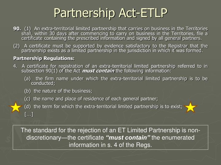Partnership Act-ETLP