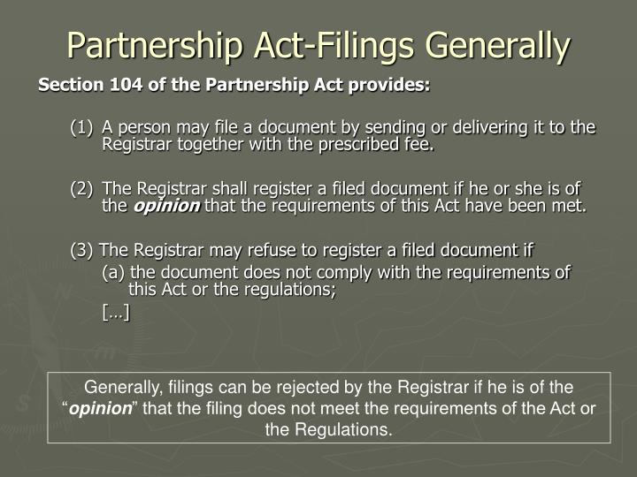 Partnership Act-Filings Generally