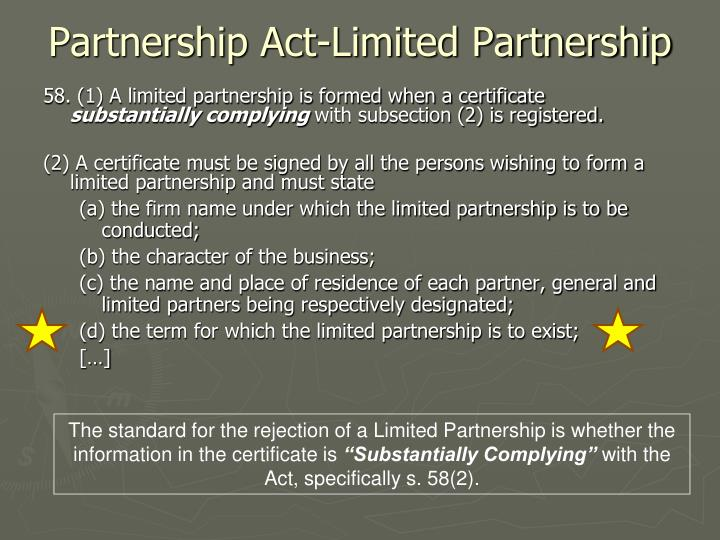 Partnership Act-Limited Partnership
