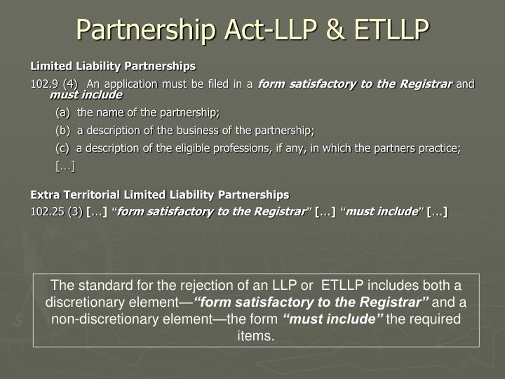 Partnership Act-LLP & ETLLP