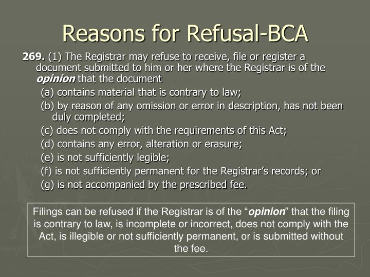 Reasons for Refusal-BCA