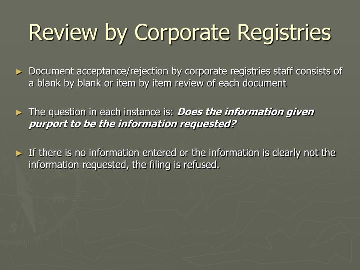 Review by Corporate Registries