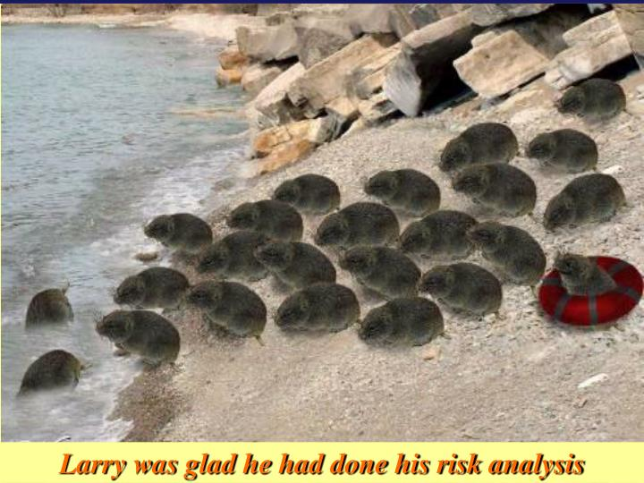 Larry was glad he had done his risk analysis