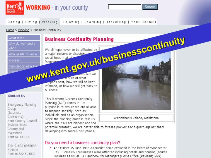 www.kent.gov.uk/businesscontinuity